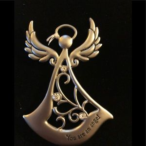 """Jewelry - Angel Pendant Silver Wash """" you are an angel"""""""